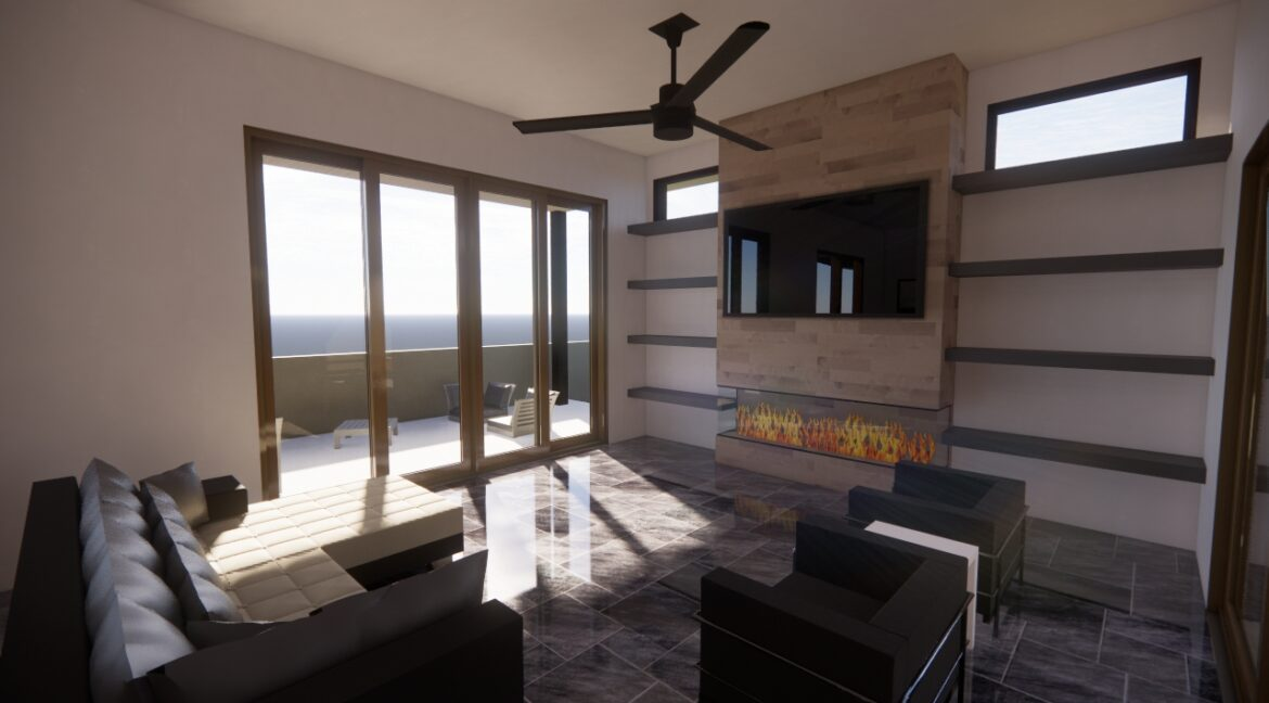 Arete-Homes-Valverde-Sunset-Side FirePlace